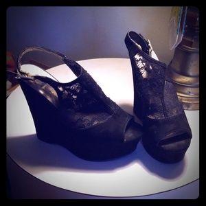 """5"""" Black Guess Peeptoe sling back wedge heel"""